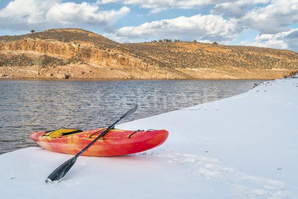 Tél kajakozás Colorado piros kajak part Stock fotó © PixelsAway