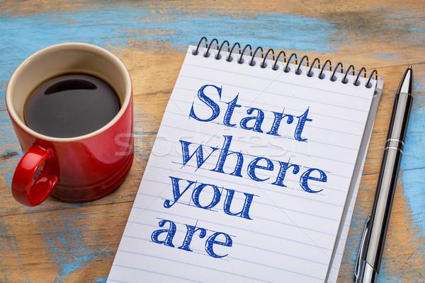 Starten Rat Handschrift Spirale Notebook Tasse Stock foto © PixelsAway