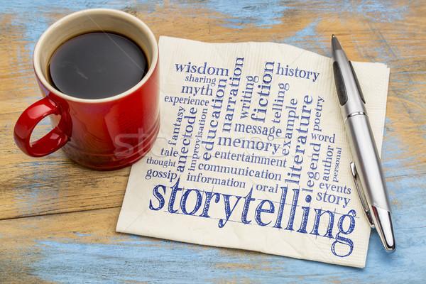 storytelling  word cloud on napkin Stock photo © PixelsAway