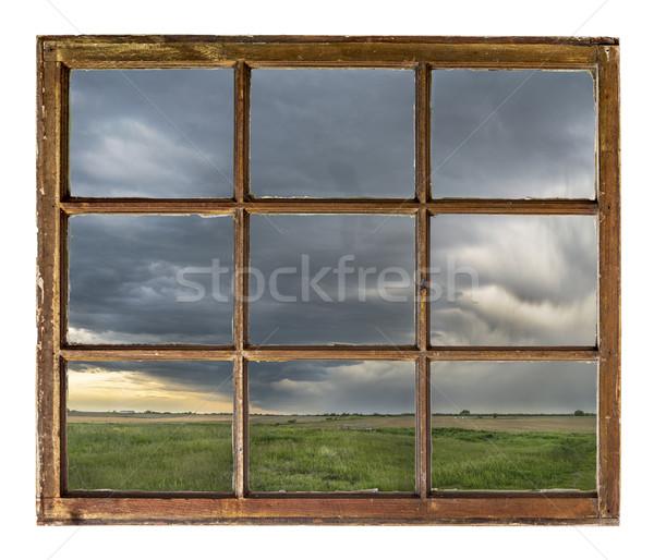 Nehéz viharfelhők eső farm klasszikus grunge Stock fotó © PixelsAway