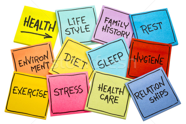 health concept - word cloud on sticky notes Stock photo © PixelsAway