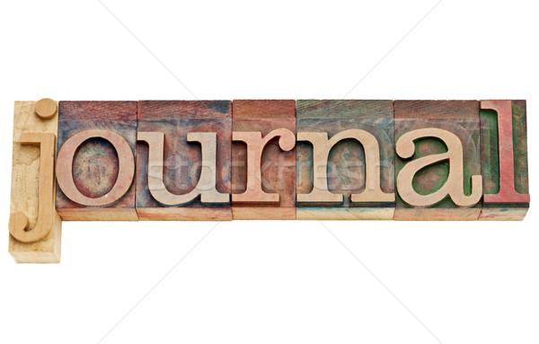 Tijdschrift woord hout type geïsoleerd Stockfoto © PixelsAway