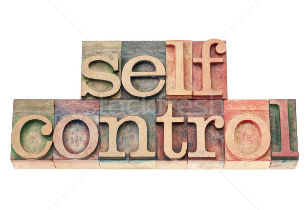 Foto stock: Control · madera · tipo · palabra · aislado · texto