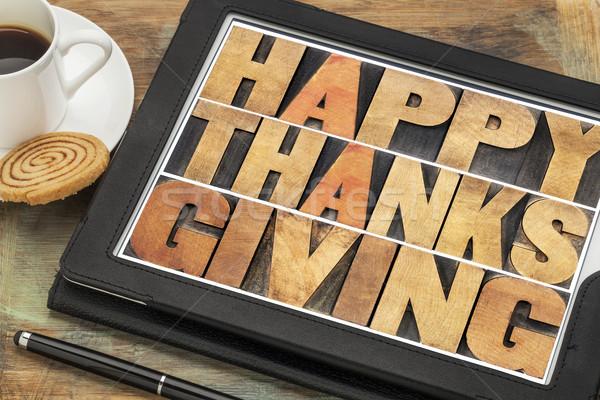 Boldog hálaadás digitális tabletta magasnyomás fa Stock fotó © PixelsAway
