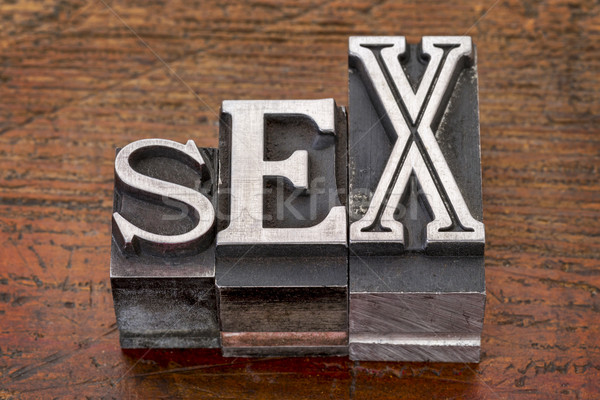Stock photo: sex word in metal type