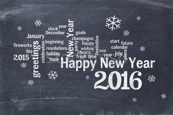 Happy New Year 2016 on blackboard Stock photo © PixelsAway
