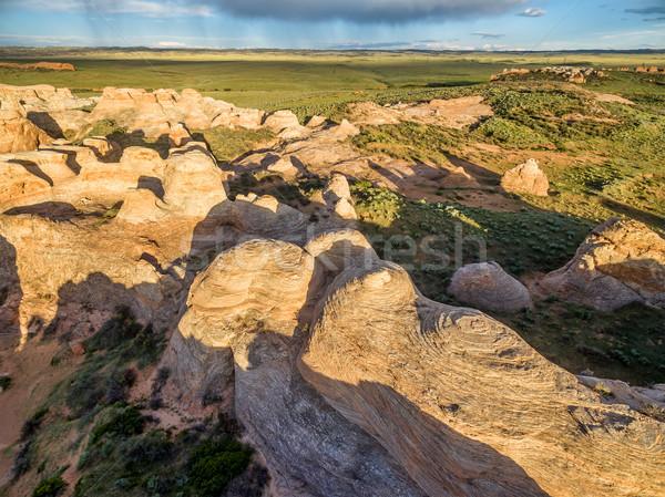 Kum dere doğal işaret kumtaşı oluşum Stok fotoğraf © PixelsAway