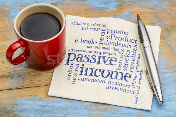 passive income word cloud on a napkin Stock photo © PixelsAway