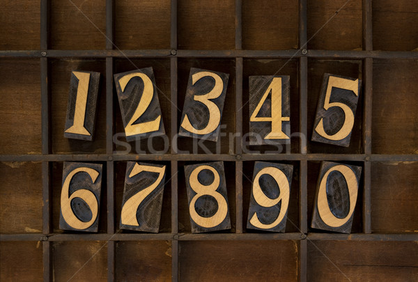 wood numbers - vintage letterpress type Stock photo © PixelsAway