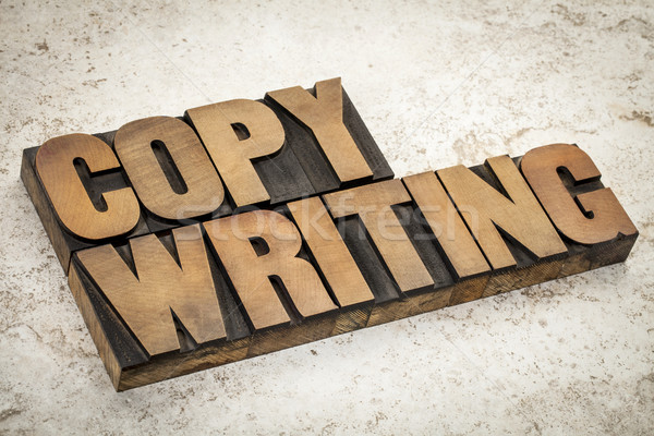 Stock photo: copywriting  word in wood type