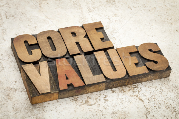 Rdzeń wartości drewna typu etyka tekst Zdjęcia stock © PixelsAway