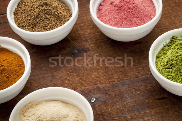 super fruit and leaf powders Stock photo © PixelsAway
