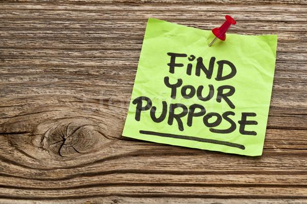 Encontrar propósito lembrete motivacional letra nota pegajosa Foto stock © PixelsAway