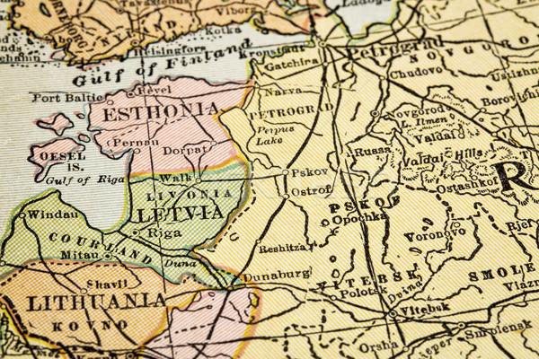 Vintage mapa países Estônia Látvia Lituânia Foto stock © PixelsAway