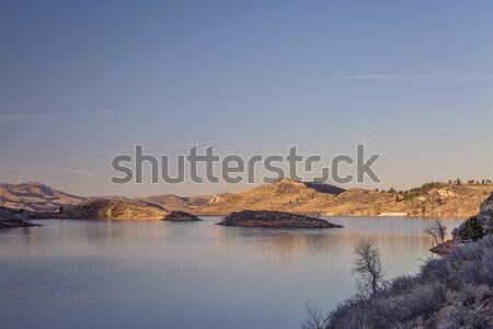 susnset over mountain lake Stock photo © PixelsAway