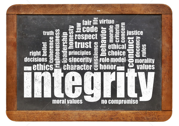integrity word cloud on blackboard Stock photo © PixelsAway