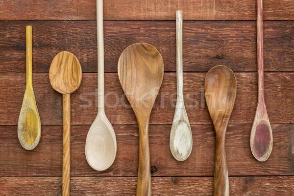set of wooden spoons Stock photo © PixelsAway