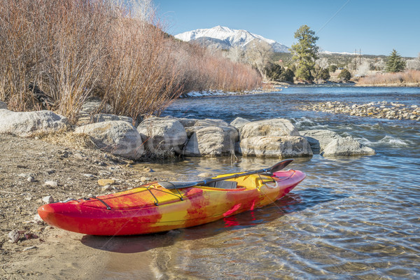 whitewater kayak on river shore Stock photo © PixelsAway