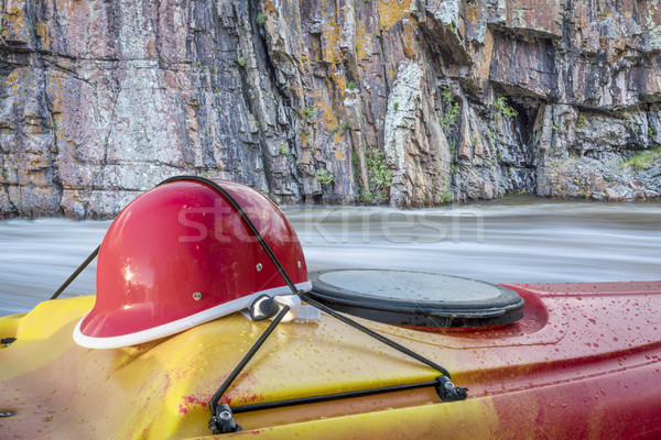 kayaking helmet on kayak deck Stock photo © PixelsAway