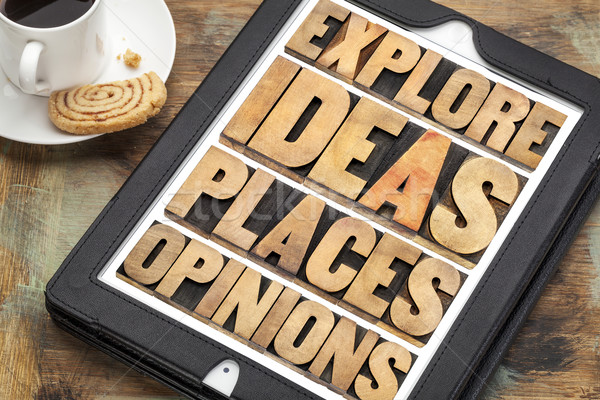explore ideas, places and opinions Stock photo © PixelsAway