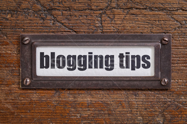 Blogging conseils étiquette fichier placard bronze Photo stock © PixelsAway