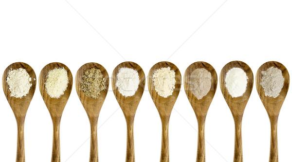 Gluténmentes liszt kanál szett gyűjtemény mandula Stock fotó © PixelsAway