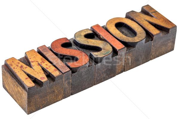 Küldetés szó absztrakt fa izolált Stock fotó © PixelsAway