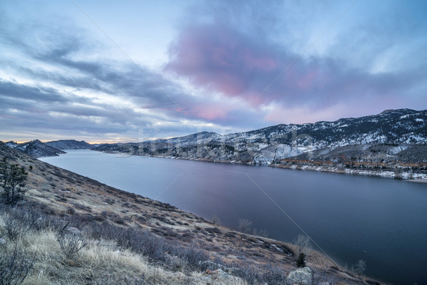 winter dawn over mountain lake Stock photo © PixelsAway
