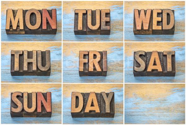 Semana vintage madera tipo establecer Foto stock © PixelsAway