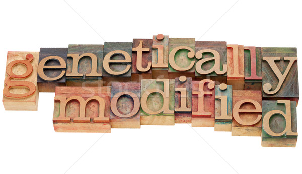 genetically modified in letterpress type Stock photo © PixelsAway