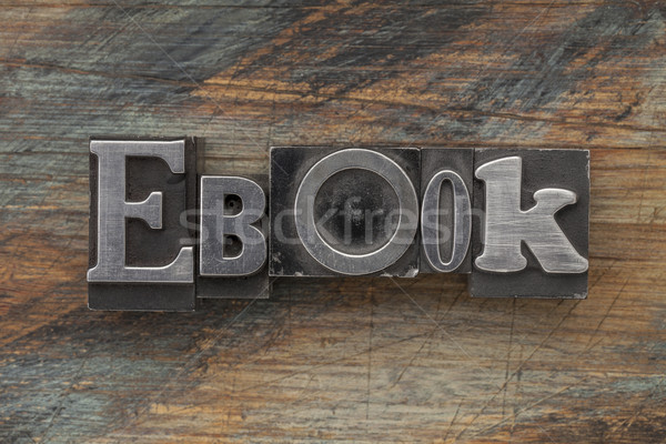 Foto stock: Ebook · palavra · metal · tipo · vintage