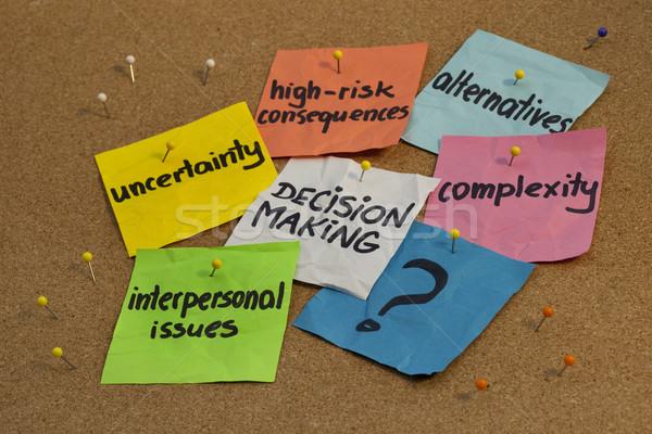 Tomada de decisão problemas processo incerteza risco conseqüências Foto stock © PixelsAway
