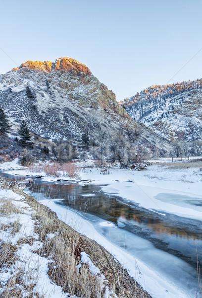 Stockfoto: Winter · zonsondergang · bergen · la · rivier · noorden
