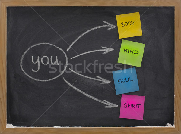 body, mind, soul, spirit and you on blackboard Stock photo © PixelsAway