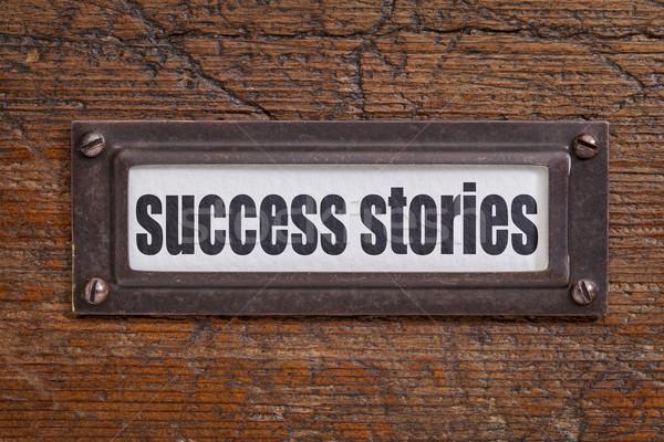 Başarı etiket dosya dolap bronz grunge Stok fotoğraf © PixelsAway