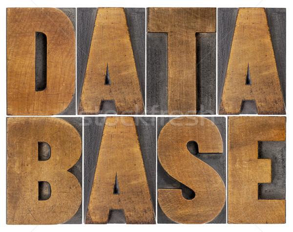 Banco de dados palavra abstrato isolado madeira Foto stock © PixelsAway