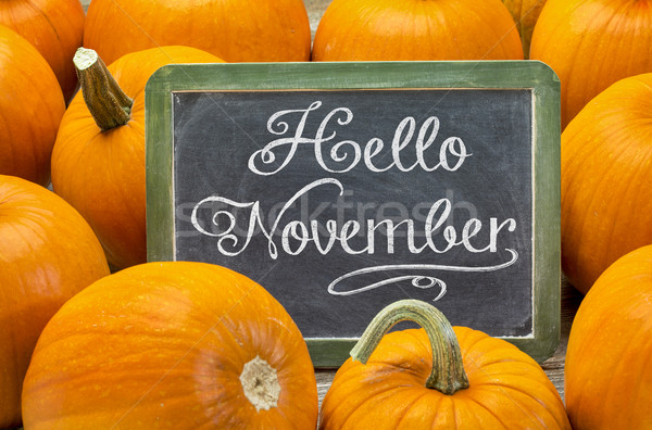 Stock photo: Hello November sign on blackboard