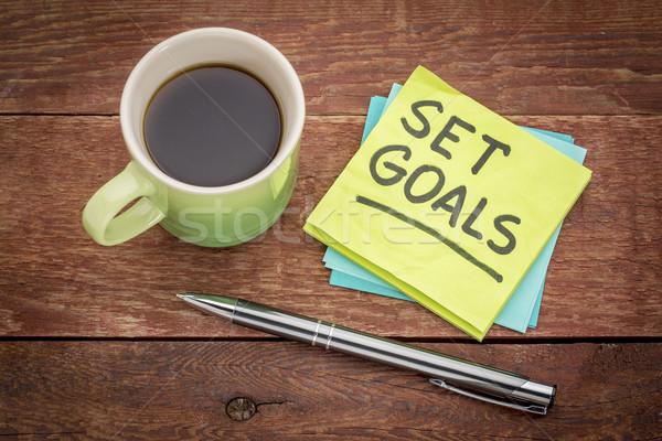 Establecer objetivos recordatorio nota nota adhesiva pluma Foto stock © PixelsAway