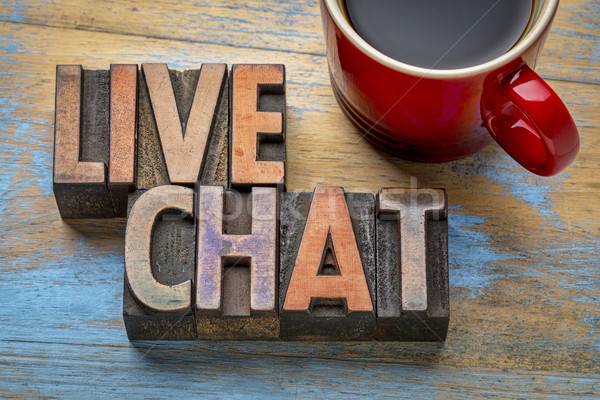 Live chat woord abstract vintage Stockfoto © PixelsAway