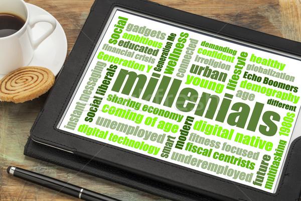 millenials word cloud on tablet Stock photo © PixelsAway