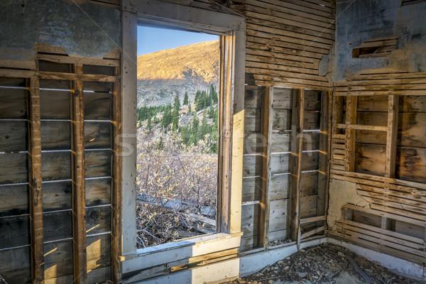 mountain view through cabin door Stock photo © PixelsAway