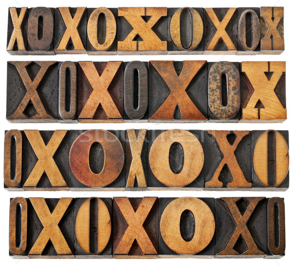 letters O and X in wood type Stock photo © PixelsAway