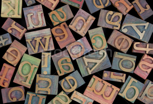 Stock photo: alphabet in vintage wood type