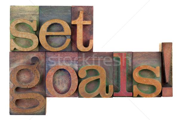 Szett célok motivációs emlékeztető klasszikus fából készült Stock fotó © PixelsAway