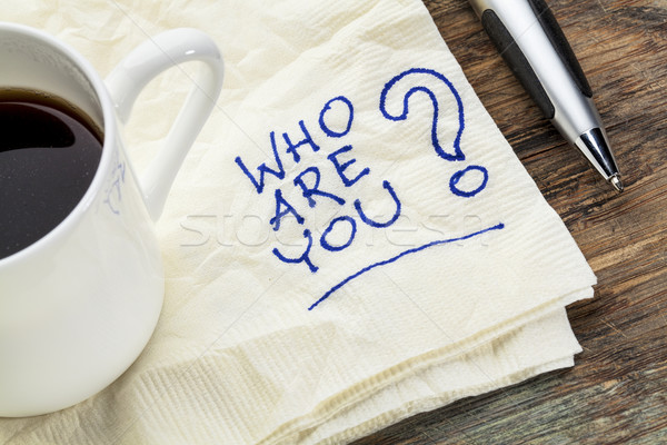 Question serviette tasse café blanche dessin Photo stock © PixelsAway