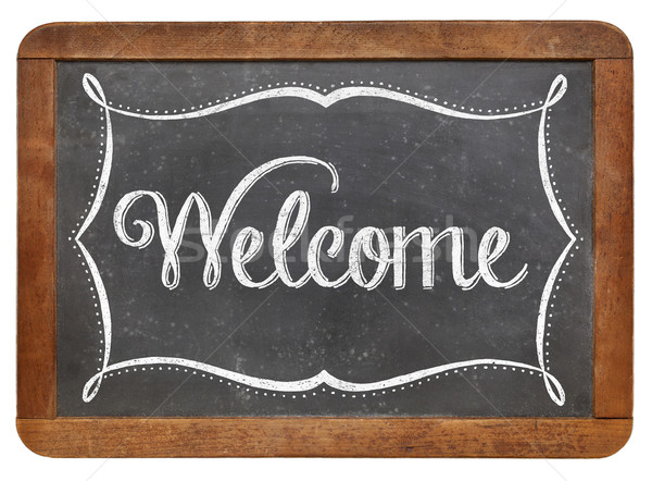 Welcome on slate blackboard Stock photo © PixelsAway