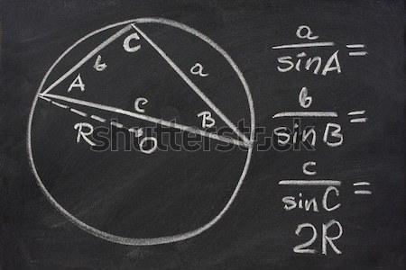 Trigonometria törvény iskolatábla fehér kréta radír Stock fotó © PixelsAway
