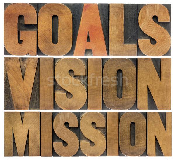 видение миссия коллаж изолированный слов Сток-фото © PixelsAway