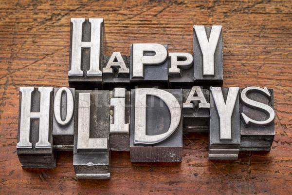 Happy Holidays in metal type Stock photo © PixelsAway