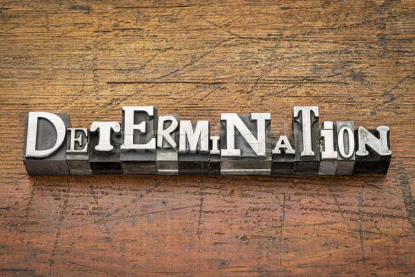 Stock photo: determination word in metal type